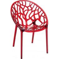 Siesta Crystal Sandalye Kırmızı Transparan