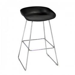 Hay Bar Sandalyesi Siyah Krom Metal Ayaklı