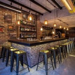 Dekoratif Taşlı Ahşap Tezgahlı Bar Bankosu