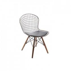 Ahşap Ayaklı Tel Sandalye Bronz