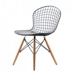 Ahşap Ayaklı Tel Sandalye Siyah