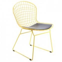 Delüx Metal Tel Sandalye Sarı